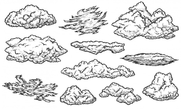 Jeu de croquis de nuage