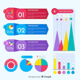 Jeu d'éléments infographiques colorés