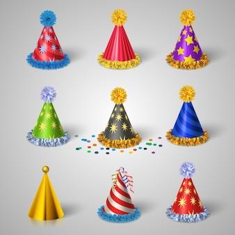 Jeu d'icônes de chapeau de fête