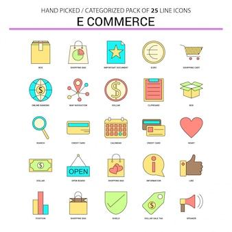 Jeu d'icônes de ligne plate de commerce électronique