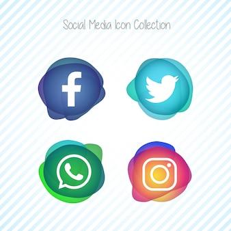 Jeu d'icônes de médias sociaux créatifs Memephis Fluid