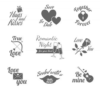 Jeu d'icônes étiquettes romantiques