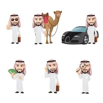 Jeu de caractères de l'homme arabe