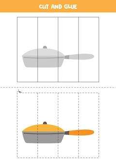 Jeu de découpe et de colle pour enfants avec poêle à frire. pratique de la coupe pour les enfants d'âge préscolaire.