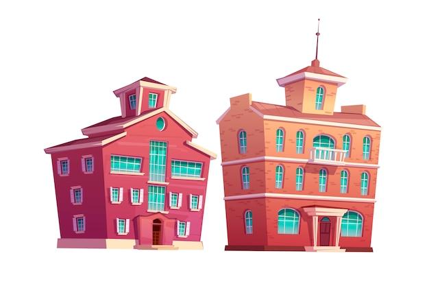 Jeu de dessin animé de bâtiment rétro urbain