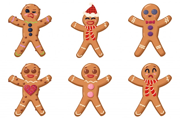 Jeu de dessin animé de biscuits bonhomme en pain d'épice isolé sur blanc