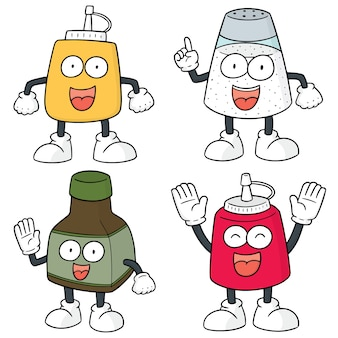 Jeu de dessin animé de bouteille de condiments vectorielles