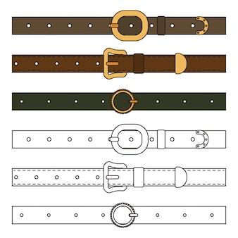 Jeu de dessin animé de ceintures en cuir isolé sur blanc