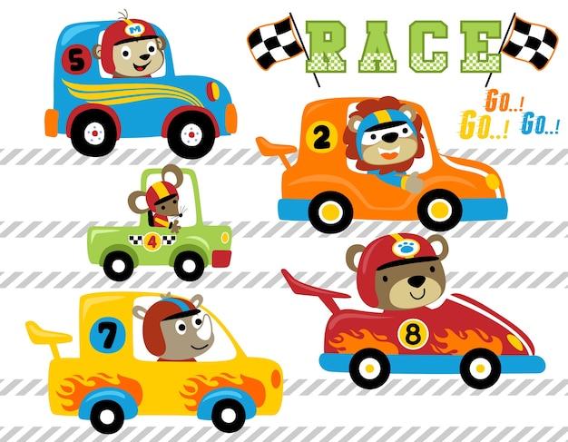 Jeu de dessin animé de course de voiture d'animaux vectorielles