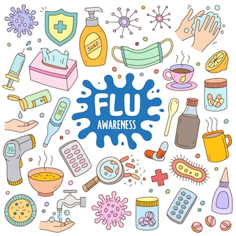 Jeu de dessin animé dessiné à la main en couleur doodle - sensibilisation à la grippe