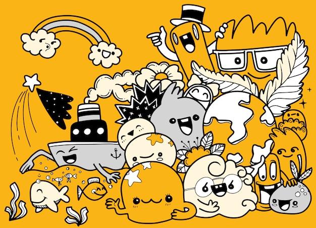 Jeu de dessin animé drôle de doodle. illustration dessinée à la main.