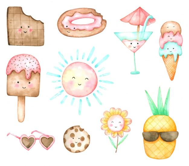Jeu de dessin animé d'été crème glacée et dessert aquarelle dessinée à la main