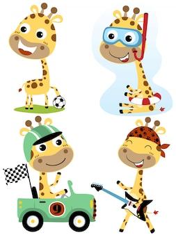 Jeu de dessin animé de girafe avec diverses professions vectorielles