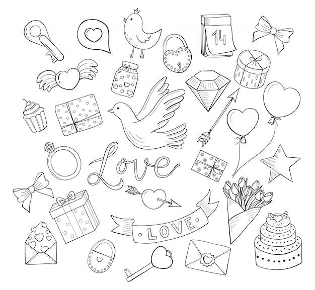Jeu de dessin animé de griffonnages dessinés à la main amour. coeurs, fleurs, oiseaux, ballons et plus encore.