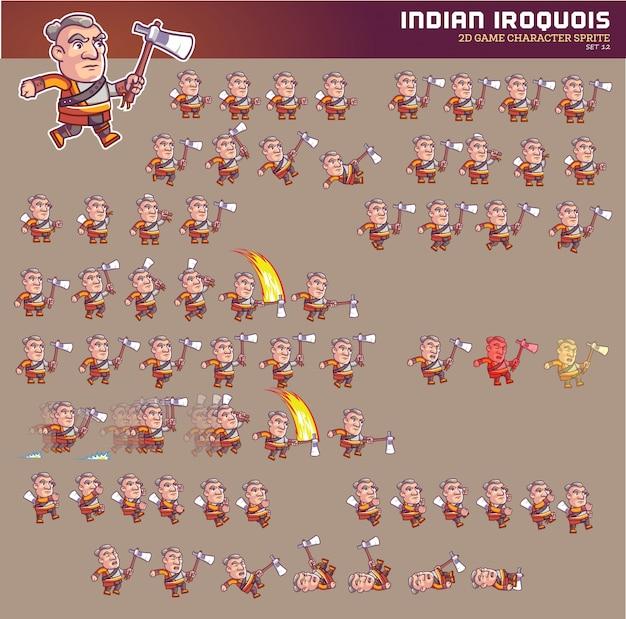 Jeu de dessin animé indien iroquois animation de personnage sprite