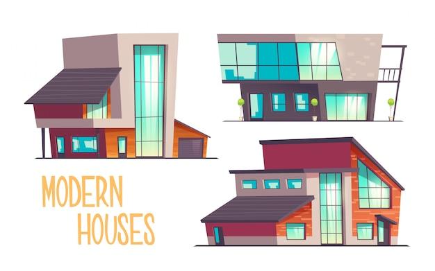 Jeu de dessin animé de maisons modernes isolé sur blanc