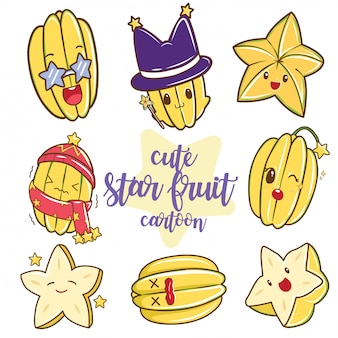 Jeu de dessin animé mignon de fruits étoile