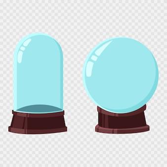 Jeu de dessin animé de noël boule de neige modèle vectoriel. boule de verre vide isolé