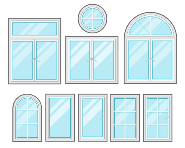 Jeu de dessin animé plat windows isolé sur fond blanc
