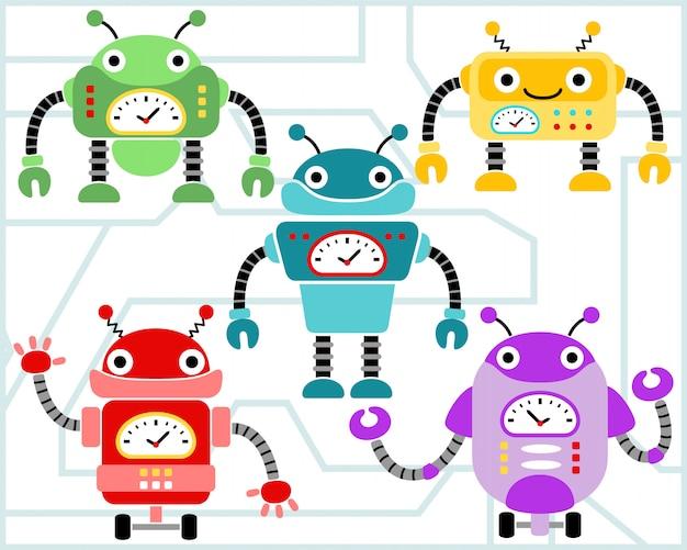 Jeu de dessin animé de robots vectorielles