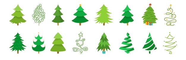 Jeu de dessin animé de sapin de noël. dessin à la main de la collection d'arbres de noël verts. conception traditionnelle du nouvel an