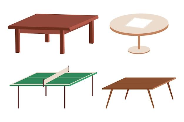 Jeu de dessin animé de tables isolé sur fond blanc.