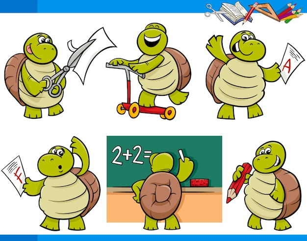Jeu de dessin animé de tortue caractère étudiant