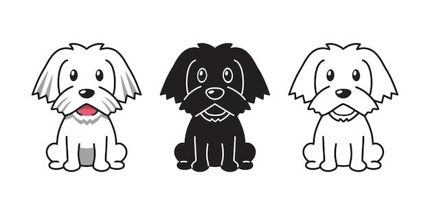 Jeu de dessin animé de vecteur de chien maltais pour la conception