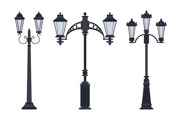 Jeu de dessin animé de vecteur de lampe de rue isolé sur fond blanc.