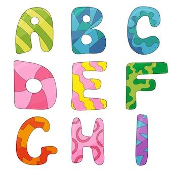 Jeu de dessin animé de vecteur de style cartoon isolé, lettres de l'alphabet. conception de type de police commerciale