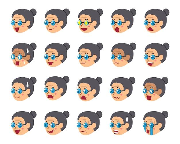 Jeu de dessin animé de visages de femme senior montrant différentes émotions