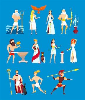 Jeu de dieux grecs de dessin animé. héros olympiens antiques isolés sur fond bleu. illustration de bande dessinée