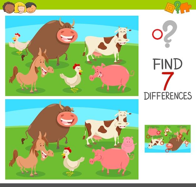 Jeu des différences avec les animaux de la ferme