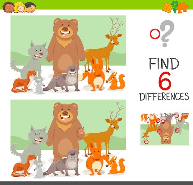 Jeu de différences avec les animaux