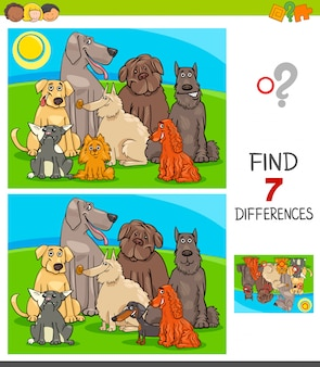 Jeu de différences avec des chiens de race