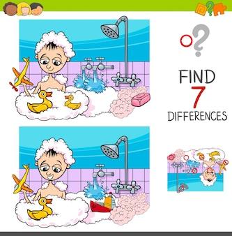 Jeu de différences avec garçon jouant dans le bain