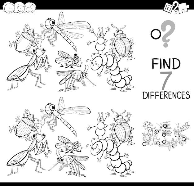 Jeu de différences avec les insectes livre de coloriage