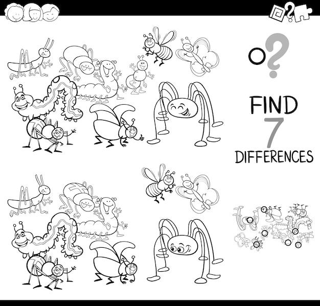 Jeu de différences avec le livre de coloriage de groupe de bugs