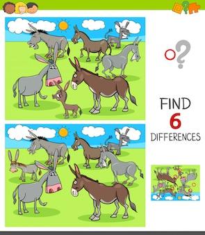 Jeu de différences avec des personnages d'ânes