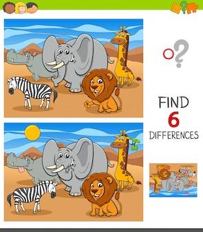 Jeu de différences avec des personnages d'animaux africains