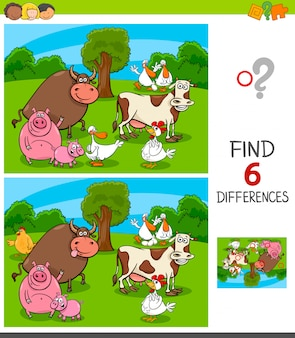 Jeu de différences avec des personnages d'animaux de ferme
