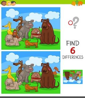 Jeu de différences avec des personnages de chiens