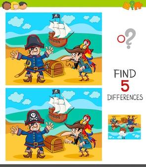 Jeu de différences avec des personnages de pirates