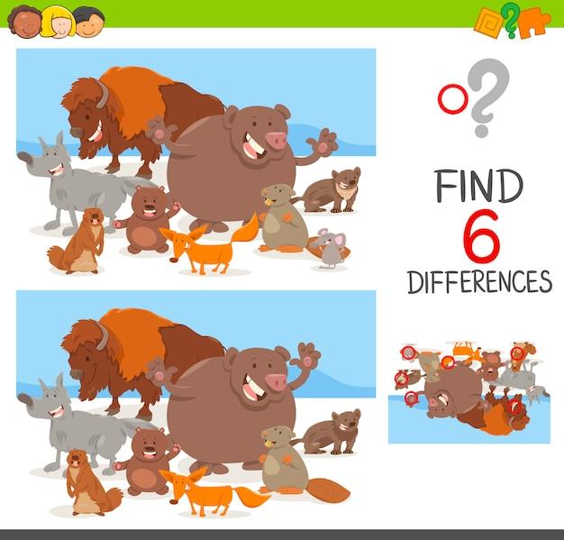 Jeu de différences de points avec des animaux
