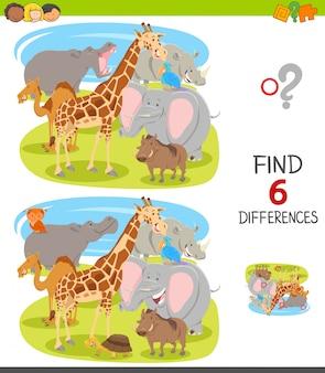 Jeu de différences pour les enfants avec des animaux de dessins animés