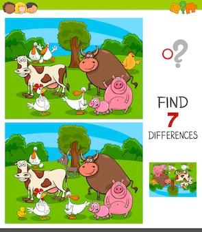 Jeu de différences pour les enfants avec des animaux de la ferme