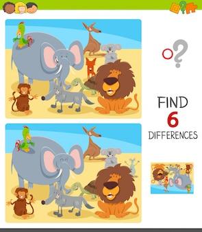 Jeu de différences pour les enfants avec des personnages animaliers