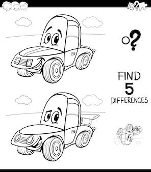 Jeu de différences pour les enfants avec une voiture de bande dessinée