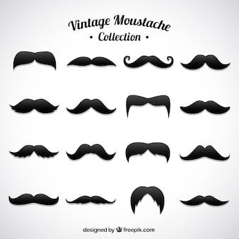 Jeu de différentes moustaches dans le style vintage