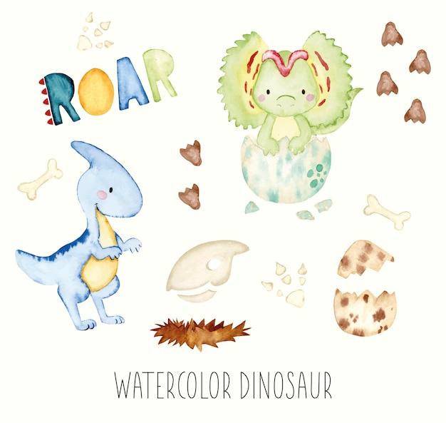 Jeu de dinosaure aquarelle
